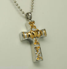 CELTIC CREMATION JEWELRY CLADDAGH CROSS URN NECKLACE GOLD STAINLESS STEEL URN