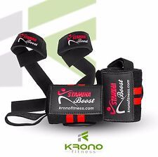 Wrist wrap & Lifting strap bundle for Weightlifting, Cross Training, Workout