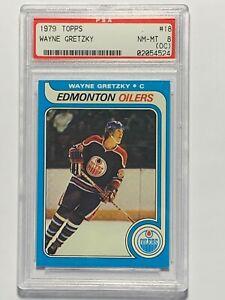 1979 Wayne Gretzky Topps #18 Rookie RC Edmonton Oilers Card PSA 8 (OC) Nice!