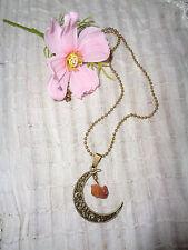 Kugelkette Halskette bronze Halbmond mit Druzy Quarz Kristall Hellbraun