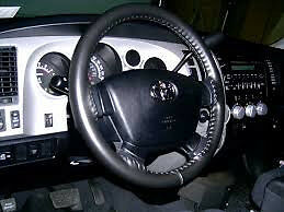 BLACK Genuine Leather Steering Wheel Cover for Toyota Wheelskins Size C