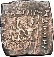 DIOMEDES 115BC Indo Greek Kingdom India DIOSCURI GEMENI BULL Ancient Coin i47080
