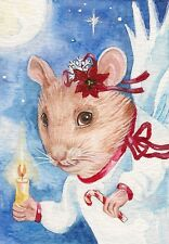 ACEO PRINT OF WATERCOLOR PAINTING RYTA MOUSE MICE XMAS ANGEL FOLK GIFT DICKENS