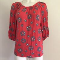 Boden Womens Top 2R Or XS Regular Pink Floral 3/4 Puff Sleeves Pleated Blouse
