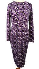 M&S Size 12 Purple Multi Long Sleeve Fitted Shift Midi Dress BNWT NEW £39 Winter