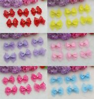 NEW 100X Satin Ribbon Bowknot Applique Lace Pearl Bows Design DIY Crafts Sewing