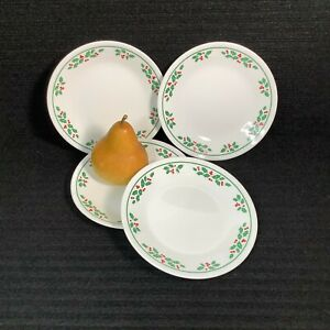 """4 Corning Corelle WINTER HOLLY Green Band Bread And Butter Plates 6.75"""" EUC!"""