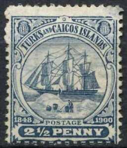 Turks & Caicos Is. 1900-4 SG#104a 2.5d Greyish Blue Unused No Gum #D84104
