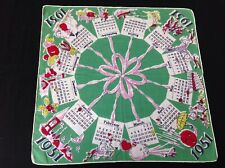 Vintage 1951 Calendar Holiday Hankie handkerchief rolled hem /soft muted colors