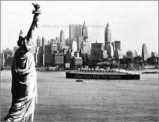 Photo: RMS Queen Mary In New York Harbor, Low Aerial With Liberty Statue, 1940's