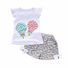 Fashion Toddler Kids Girls Bowknot Printing Outfits Lolly T-shirt Tops+Short