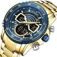 Herrenuhr Armband uhr Chroghraph Sport Edelstahl Quarz Analog Datum Gold farben