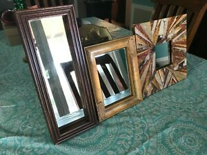 Lot of 3 Vintage Small Accent Wall Mirrors Decorative GUC