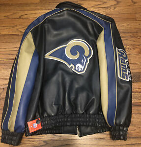 NWT St. Louis Rams NFL Mens Authentic G-III Embroidered Leather Jacket Fast Ship