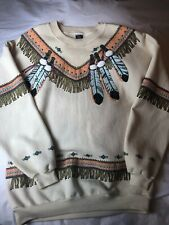 Vtg Sweatshirt Native American Indian S/M Squaw Print All Over Print Few Stains