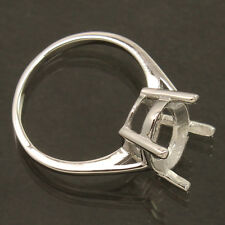 Modern Fashion Semi Mount Ring Any Size 10x14 mm Oval Solid 925 Sterling Silver