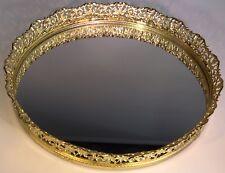 VTG Mirror Gold Filigree Vanity Tray Perfume Gilded Tray 10 Round 1.5 Deep