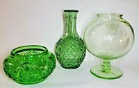 Antique Depression Glass Green Vases - Lot of 3