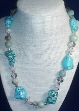 Natural Genuine Turquoise Jadeite Crystal Beaded Necklace Sterling Silver