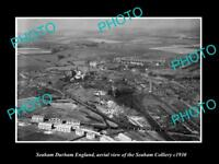 OLD LARGE HISTORIC PHOTO SEAHAM DURHAM ENGLAND AERIAL VIEW OF COLLIERY c1930
