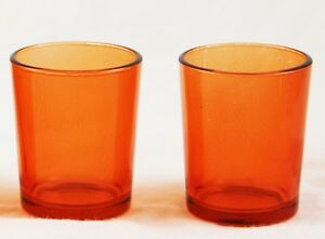 24 Orange Glass Cup Tea Light Candle Holder Wedding Event Party Table Halloween