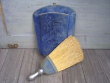 Antique Butlers Whisk Broom Duster Brush With Holder Blue Velvet RARE
