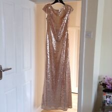 Goddiva Champagne Sequin Low Back Maxi Bridesmaid Prom Dress size 10 (1 of 2)