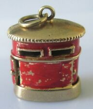 twin postbox (6.1g) charm Vintage 9ct yellow gold enamelled