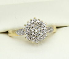 18CT GOLD DIAMOND CLUSTER RING SIZE P, 0.25 CT DIA, ENGAGEMENT, HALLMARKED, 18K