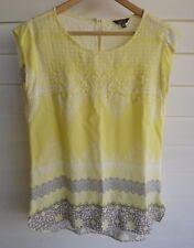 Katies Women's Yellow & White Top - Size 10