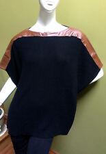 Polo Ralph Lauren womens leather trim black poncho pullover sweater size medium
