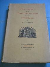 DE JESSEN BIBLIOGRAPHIE LITTERATURE FRANCAISE SUR DANEMARK 1924 Tirage 1000 EX.
