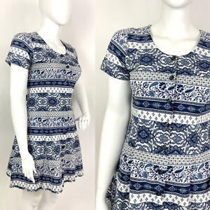 VINTAGE 60s 70s WHITE NAVY BLUE STRIPED FLORAL FOLK MOD SHORT DRESS 16