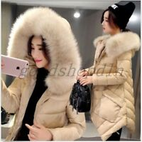 Ladies Winter Faux Fur Collar Hooded Down Cotton Coats Outwear Parka Jacket SIZE