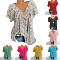 Womens Blouse Sweatshirt Basic Tee Floral Shirt Summer Ladies Loose Casual Tops