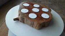 Handcrafted Spruce Wood Tea Light Candle Holder with 4 Hour Candles included