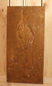 Antique hand carving wood cubist wall hanging plaque portrait