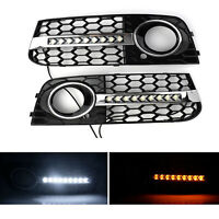 2X Honeycomb Mesh Grille Flowing LED Fog Light Turn Signal For AUDI A4 B8 09-11
