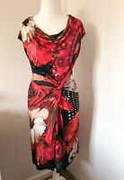 Desigual Red & Black Floral Sleeveless Jersey Dress Cowl Neck Twist Front Size M