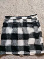 Womens Intuition Skirt size 12 black white checked wool thick warm vgc
