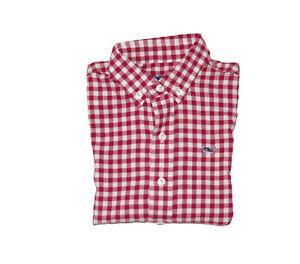 NWT Vineyard Vines Boys Cliff Flannel Gingham Long Sleeve Shirt Beet Red Large