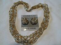 Vtg Bohemian Glass 7 Strand  Necklace & Pierced  Cluster Earrings Set Gold-Tone