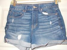 WOMAN'S AEROPOSTALE DISTRESSED HIGH WAISTED CUFFED SHORTY SHORTS SZ 2 INSEAM 3""