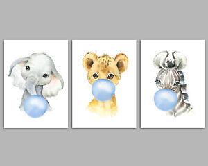 3 Safari Animals Blowing Blue Bubblegum Boys Nursery Prints Wall Art Pictures
