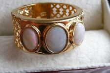 10% Off!!LARGE WIDE COOBER PEDY WHITE OPAL 925 SILVER GOLD BAND RING SZ S US 9.5