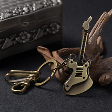 Bronze Guitar Metal Keyring Musician Steampunk Music Key Chain Unisex