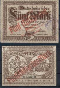 GERMANY 5 MILLIARDEN MARK BAYREUTH BANKNOTE NOTGELD GUTSHEIN 1918 OVERPRINT GOOD