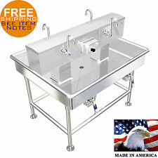 """Island 4 Users Wash Up Hand Sink Lavatory 48"""" x 40"""" Stainless Steel Made In Usa"""