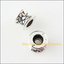 15Pcs Tibetan Silver Tone Round Tube Flower Spacer Beads Charms 7mm