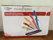 Bel ensemble de 5 couteaux multicolore PRADEL avec support neufs dans la boite